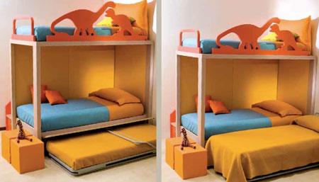Il letto a castello permette di risparmiare spazio nella cameretta