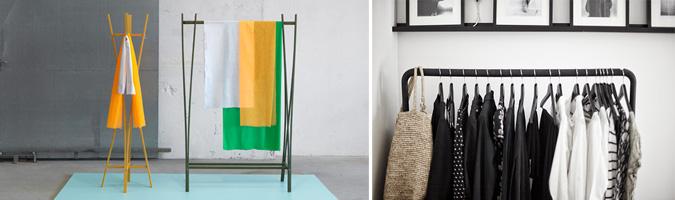 Stand appendiabiti realizzati in legno di Ikea e Zilio A&C